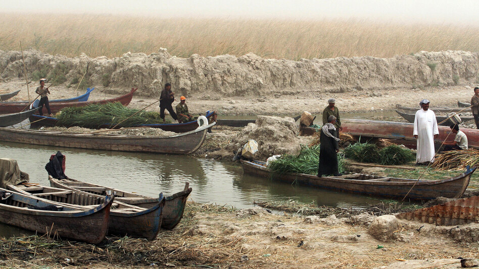 Iraqi fishermen and farmers prepare to sail in the marshes, north of the southern city of Basra, last year. The new textbooks include a section on Saddam Hussein's order to drain the marshes as a way to drive out Shiite opposition in the 1990s.