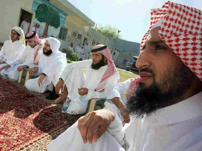 Saudi men at a rehabilitation center for convicted militants