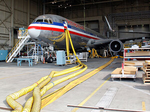 An American Airlines jet undergoing maintenance in Tulsa, Okla.