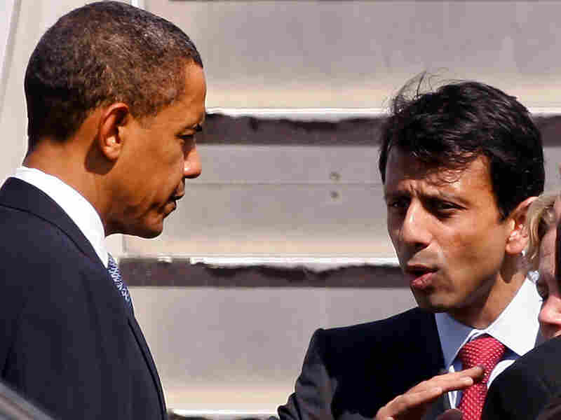 President Obama talks with Louisiana Gov. Bobby Jindal