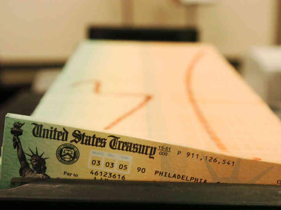 Trays of printed Social Security checks wait to be mailed from the U.S. Treasury