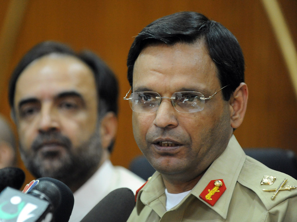 Pakistan's military spokesman, Maj. Gen. Athar Abbas, addresses a news conference in Islamabad on Monday.