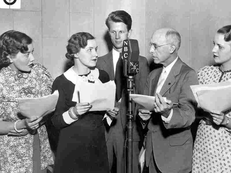 The cast of the NBC radio show 'Oxydol's Own Ma Perkins,' sponsored by Procter & Gamble, in 1933