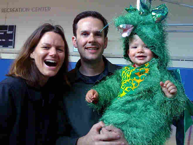 Sarah Varney with her husband and son