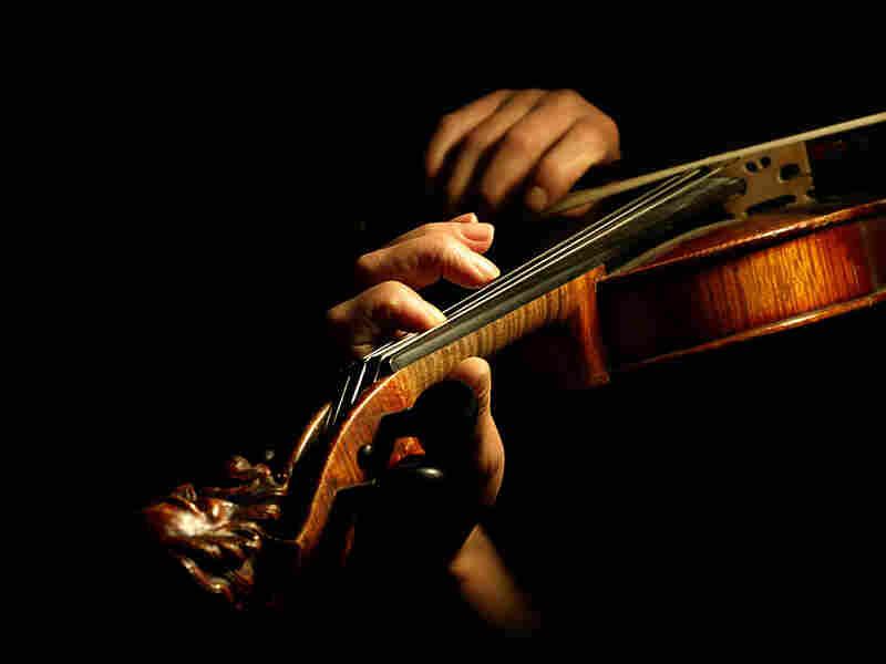 A musician plays a violin