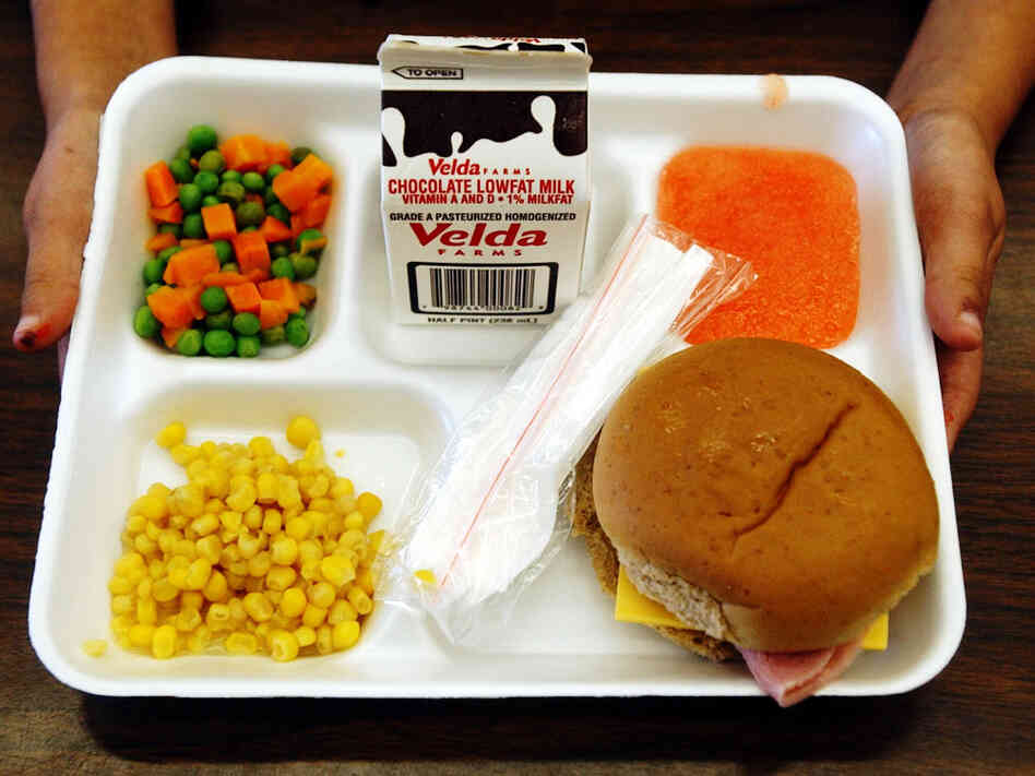 A school lunch tray holds nutritious choices.