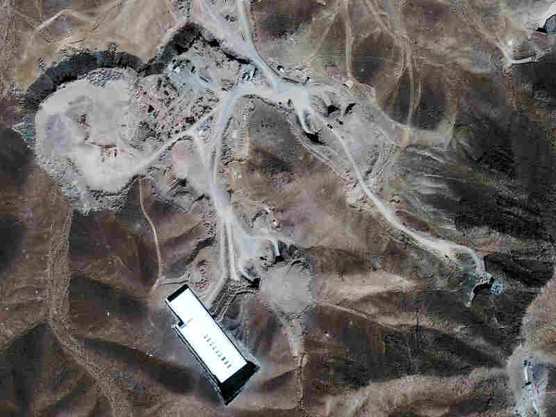 This satellite image taken Sept. 26 shows a nuclear facility located 20 miles north of Qom, Iran.