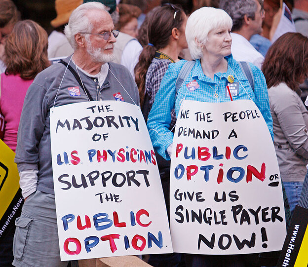 Demonstrators demonstrating in front of Blue Cross offices in downtown San Francisco are protesting Blue Cross' opposition to a public health insurance option as part of a health care overhaul package. (AP)