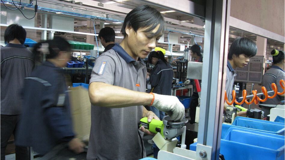 The Positec power-tool factory in Suzhou Industrial Park — about 50 miles outside Shanghai — is suffering a worker shortage; it lacks about 200 employees, or about 10 percent of the workforce. In an effort to attract workers, the factory has increased wages by 10 percent and is building new dorms and a canteen.