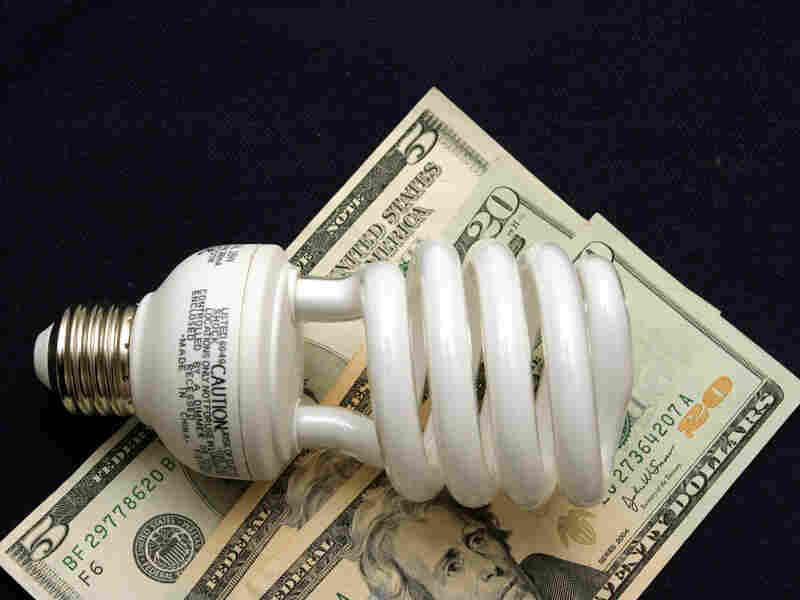An energy-efficient compact fluorescent light bulb, sitting on a stack of cash