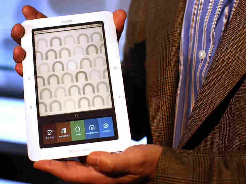 Barnes and Noble's new Nook digital reader is displayed at a launching Tuesday in New York City.