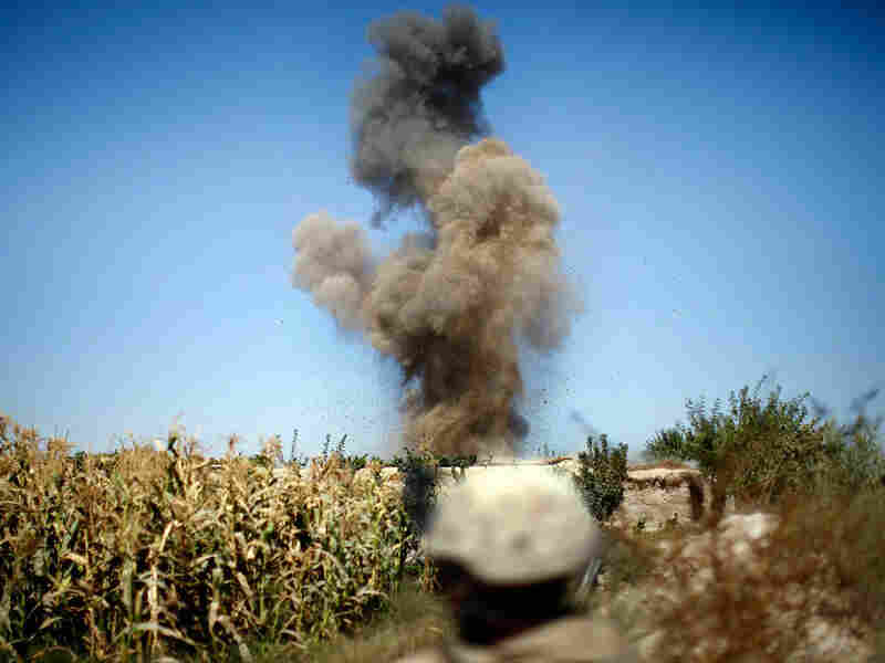 Marines detonate a homemade explosive device.