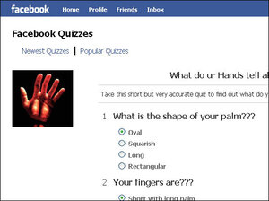 """A Facebook quiz called """"What Do UR Hands Tell About YOU???"""""""