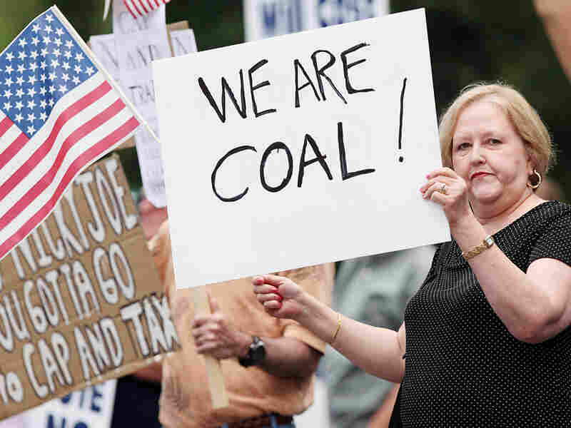 Kay Medley protests a climate change bill in West Virginia.
