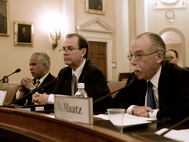 Hilary Shelton of the NAACP (left) and American Coalition for Clean Coal Electricity President and CEO Steve Miller (center) listen as Jack Bonner testifies before the House global warming committee on fraudulent letters sent to Congress on climate legislation.