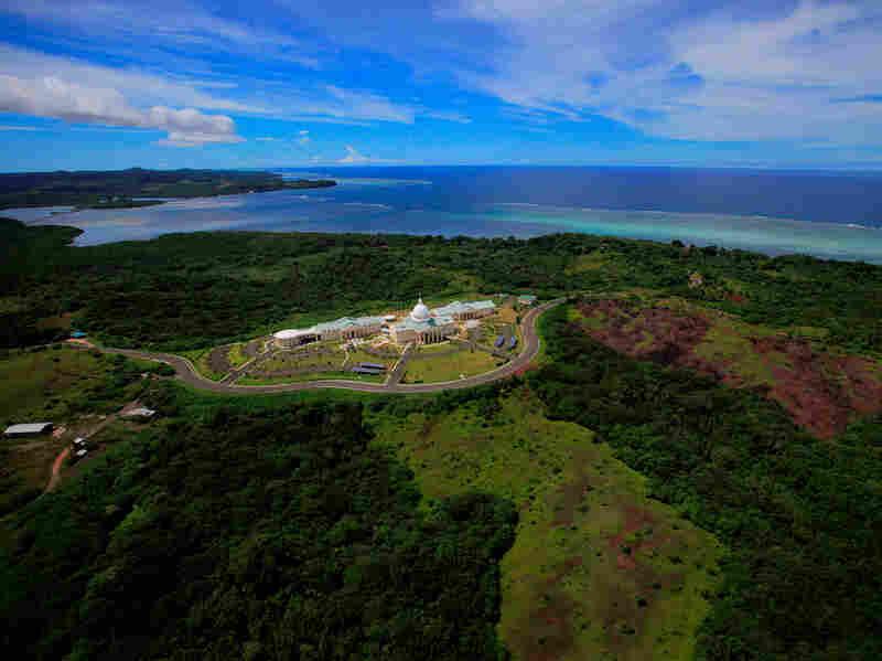 Aerial view of Palau Cpaital building in Melekeok, Palau