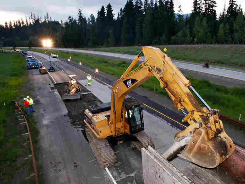 Work on a highway project near Snoqualmie Pass, Wash.