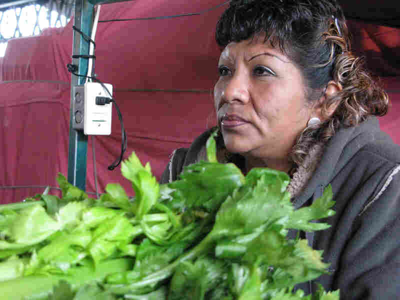 Petra Flores de la Cruz sells celery, broccoli and lettuce at the Central de Abasto