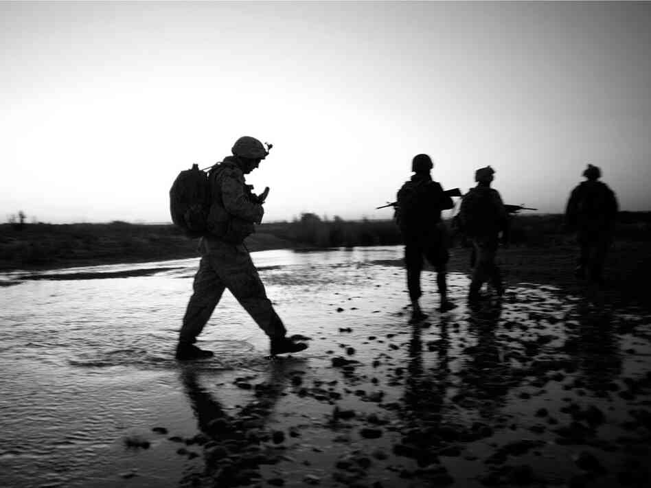 Marines on a dawn patrol in Afghanistan
