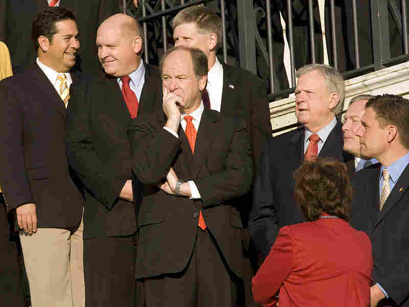 Alabama Republican Rep. Bobby Bright (center) after he was elected to Congress a year ago