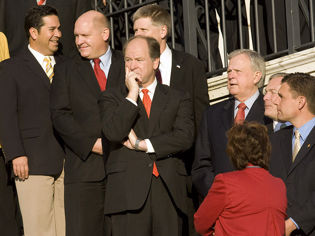 Alabama Rep. Bobby Bright (center) is seen last November with other freshman House members elected in 2008. Bright, a conservative Blue Dog Democrat, faces a tough re-election in 2010. He most likely won't enjoy the combination of a weak opponent, GOP turmoil and strong black voter turnout that helped make him the first Democrat to represent his state's 2nd Congressional District in more than four decades. (AP)