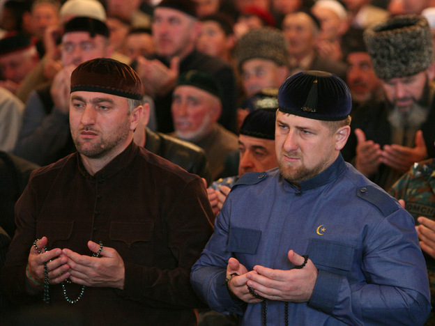 Chechen leader Ramzan Kadyrov (right) and Russian parliament deputy Adam Delimkhanov pray at a mosque in Chechnya's capital, Grozny.