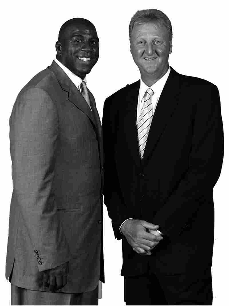 Magic Johnson (left) and Larry Bird