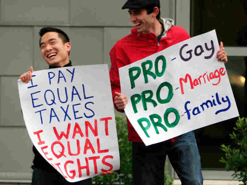 Supporters of the Protect Main Equality campaign