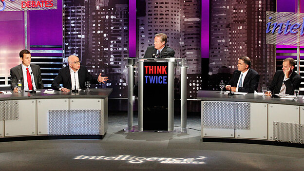 The stage at Oct. 27's Intelligence Squared U.S. debate