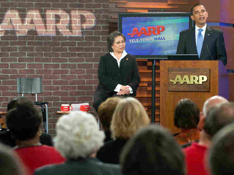 President Obama speaks about healthcare during a meeting at AARP headquarters.