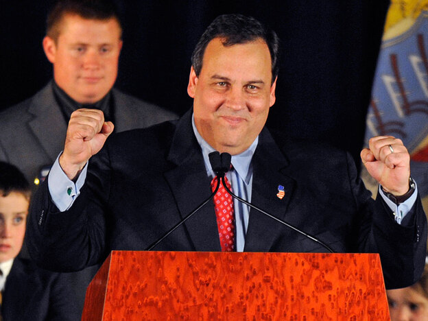Republican Chris Christie addresses supporters Tuesday in Parsippany, N.J., after beating incumbent New Jersey Gov. Jon Corzine, a Democrat. (AP)