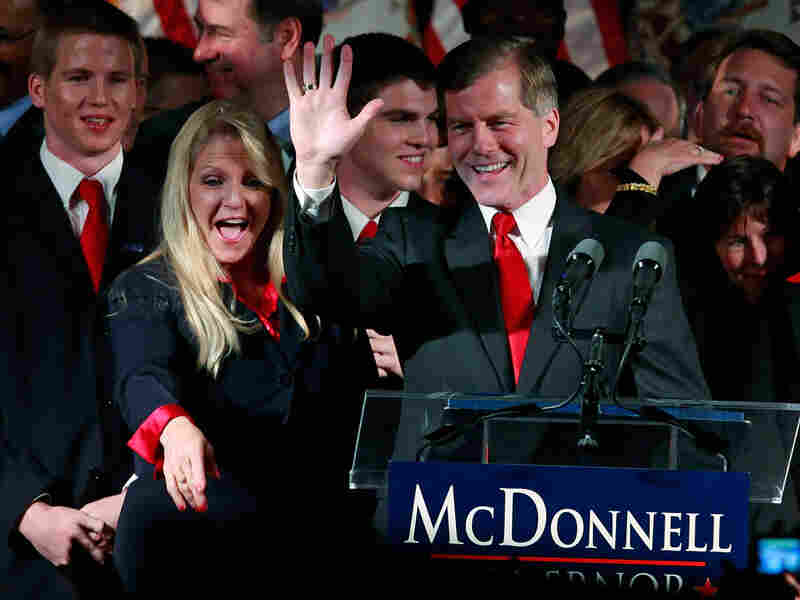 Republican Bob McDonnell and his wife, Maureen McDonnell, greet the crowd at his victory party