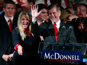 Republican Bob McDonnell and his wife, Maureen McDonnell, greet the crowd at his victory party Tuesday in Richmond, Va. McDonnell beat out Democratic challenger Creigh Deeds in Virginia's governor's race.