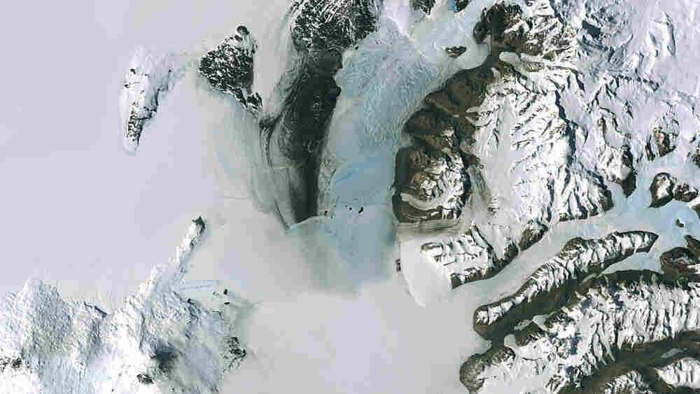 wide: A satellite image of Antarctica's McMurdo Station and miles of massive ice sheets.