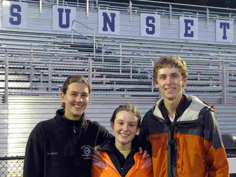 Three members of the Sunset High School Marching Band.