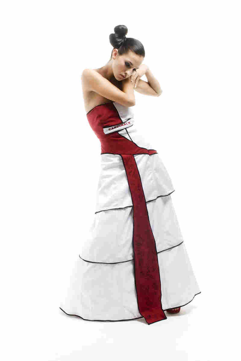 The first NFL-authorized ball gown, designed by Danell Lynn, is made from recycled Arizona Cardinals