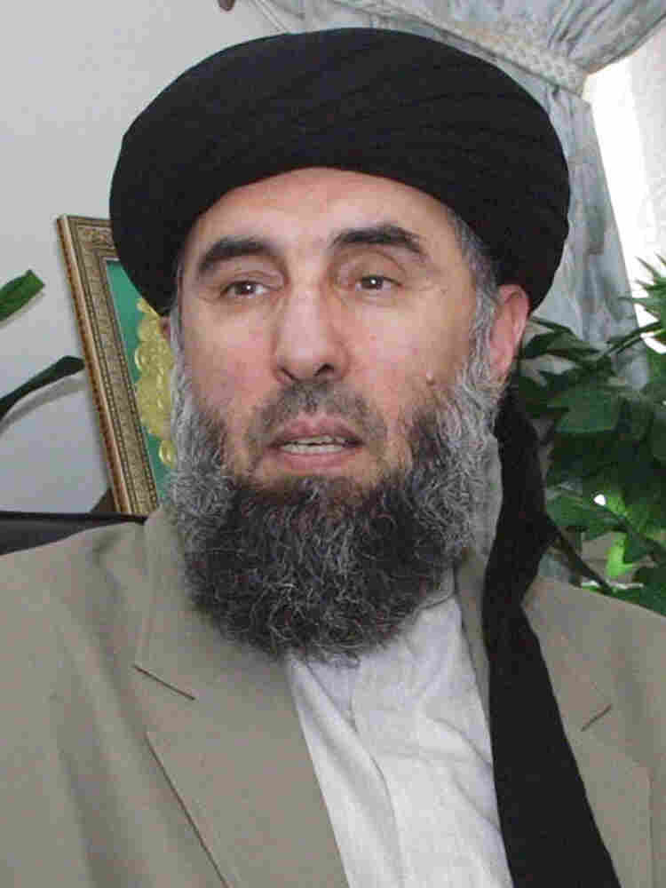 Gulbuddin Hekmatyar gives an interview to AFP in Tehran in October 2001.