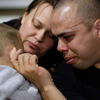 U.S. Army Specialist Sheldon Rabago, Nancy Rabago and their son Owen mourn. Joe Raedle/Getty Images