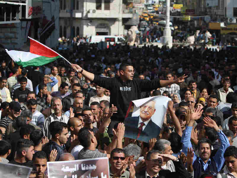 Hundreds of Palestinians gather in the West Bank city of Ramallah.
