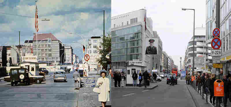 Checkpoint Charlie in 1968 and today