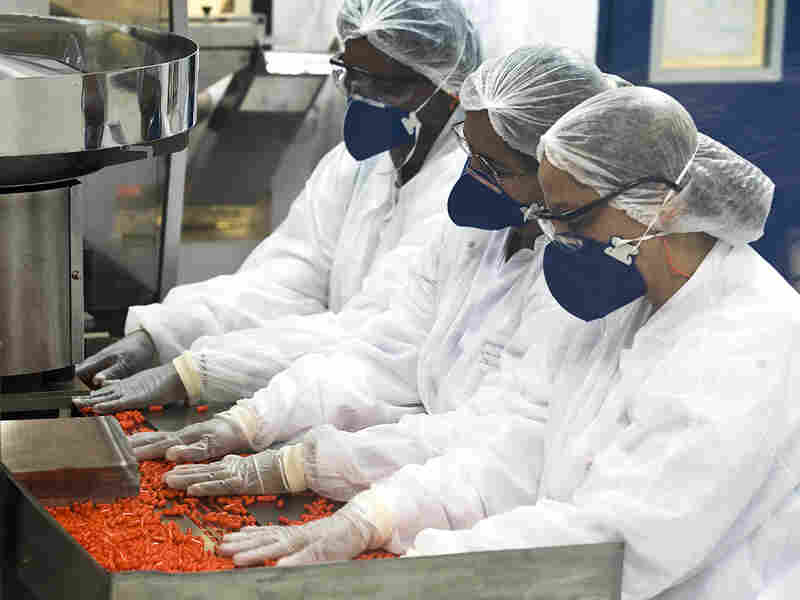 Workers at a Brazilian government  lab pack pills of Oseltamivir, similar to Tamiflu.