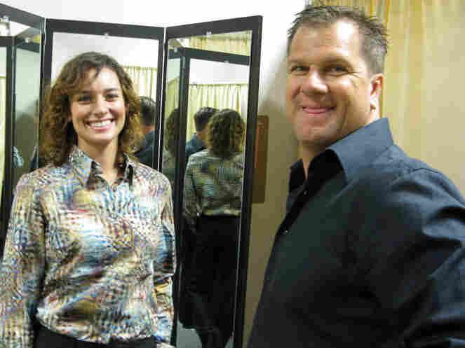 Bartender Jacqueline Coatsworth and Keith McSorley, manager of City Center uniform center.