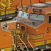 Burlington Northern Santa Fe locomotives in a rail yard in Kansas City, Kan.