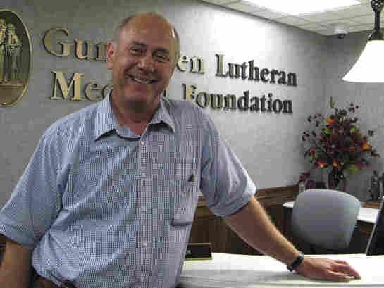 Bud Hammes standing in the Gundersen Lutheran Hospital in La Crosse, Wis.