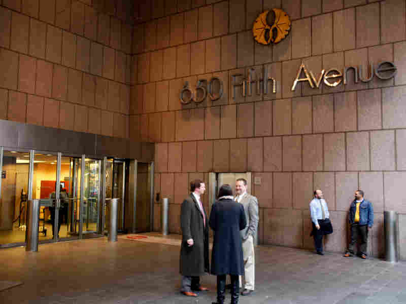 The entrance to the 36-story office tower at 650 5th Ave. in New York.