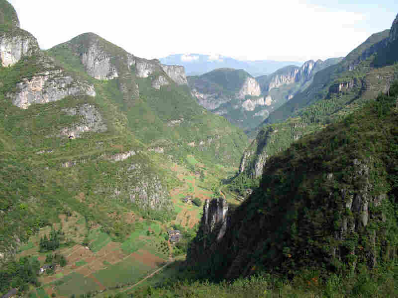 Mountain villages in Fengjie county, China, near the Three Gorges Reservoir.