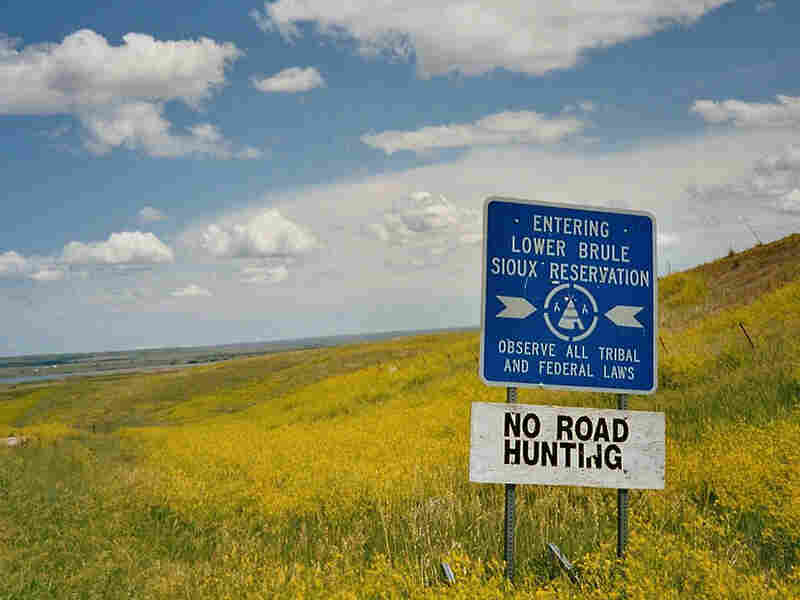 A sign marks the Lower Brule Sioux Indian Reservation
