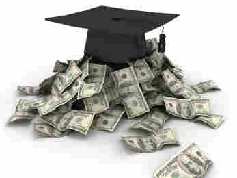 Graduation cap with piles of money