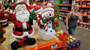Christmas merchandise at a Home Depot store