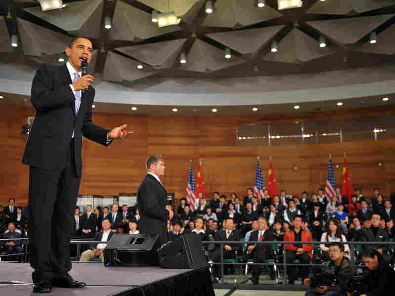 President Obama answers questions at the Museum of Science and Technology in Shanghai.